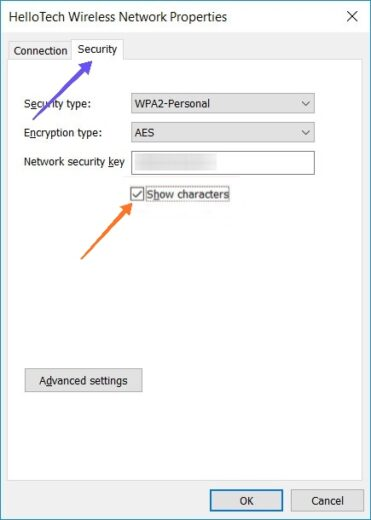 Find WiFi Password on Windows 10 - Select Security Tab