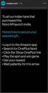 OnePlus Nord AR Invite Assured Gift