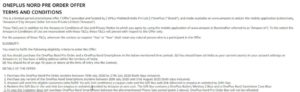 OnePlus Nord Preorder Terms and Conditions