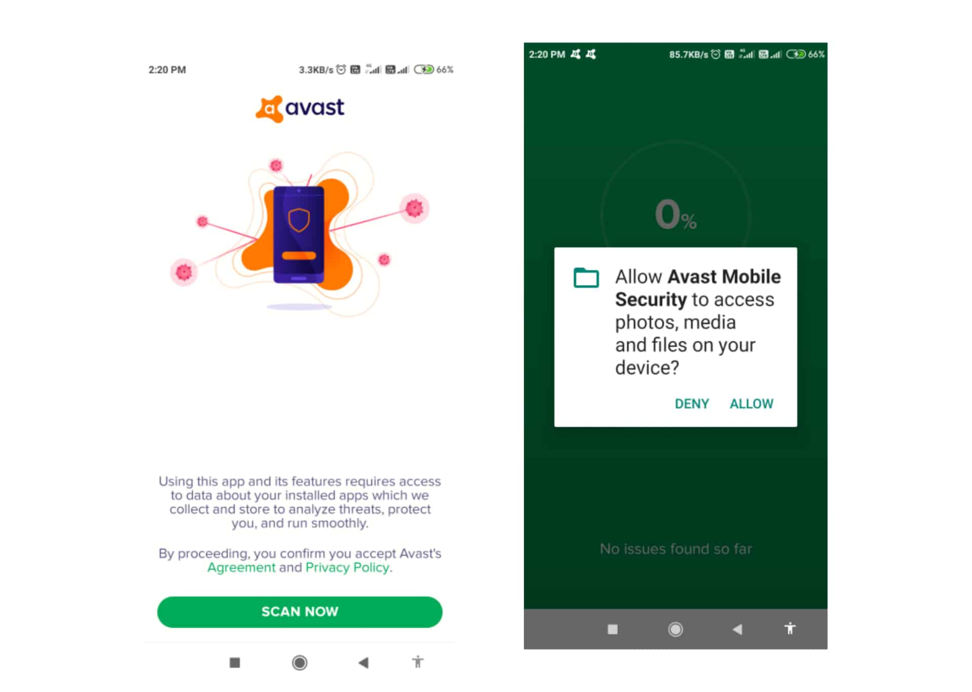 Setup Avast to Remove Virus from Android
