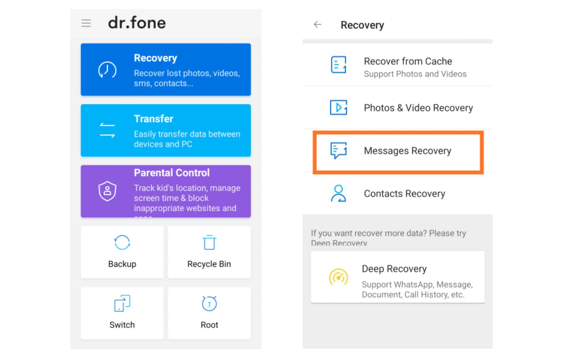 Recover Deleted Text Messages On Android - Dr.Fone