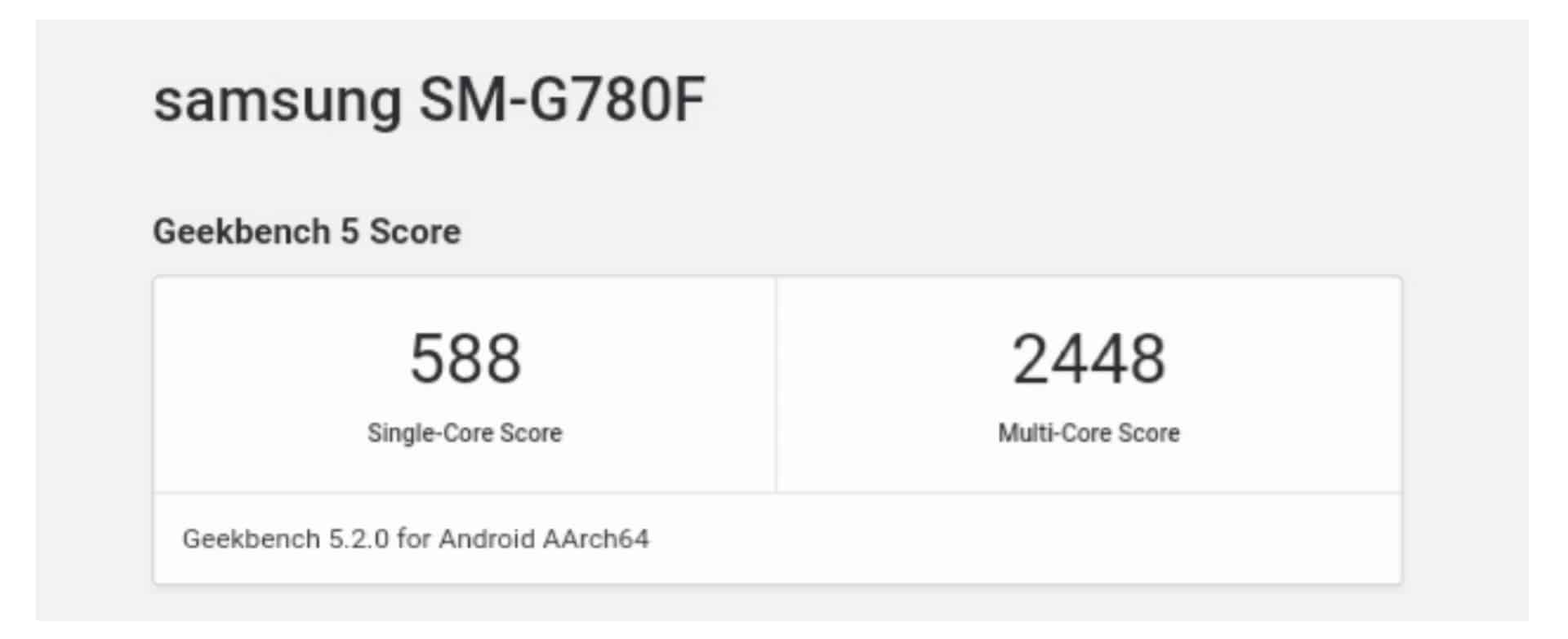 Samsung Galaxy S20 Fan Edition Geekbench Score