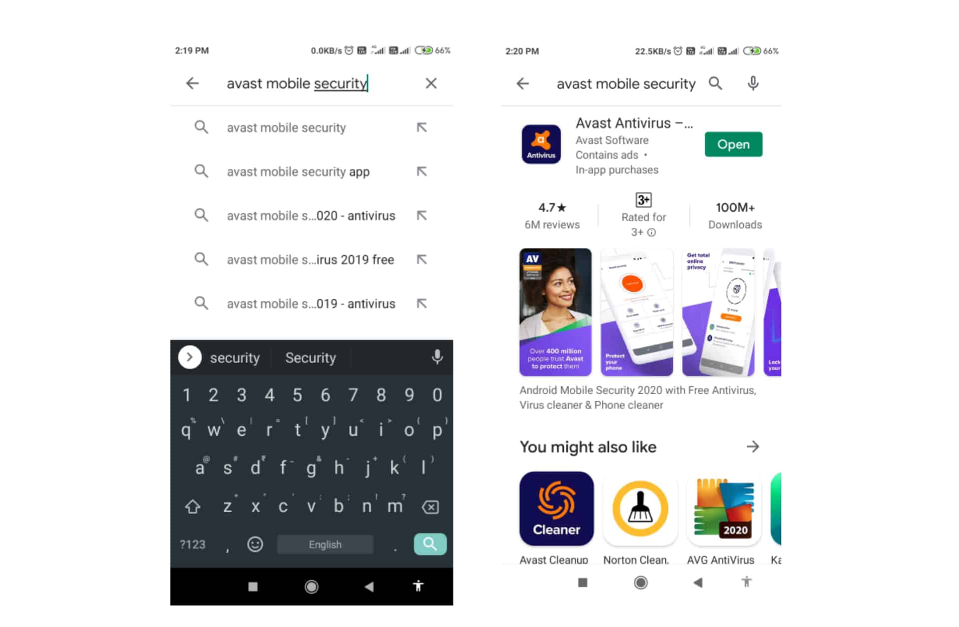 Search for Avast in Playstore