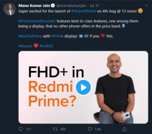 Manu Kumar Jain tweet on Redmi 9 Prime
