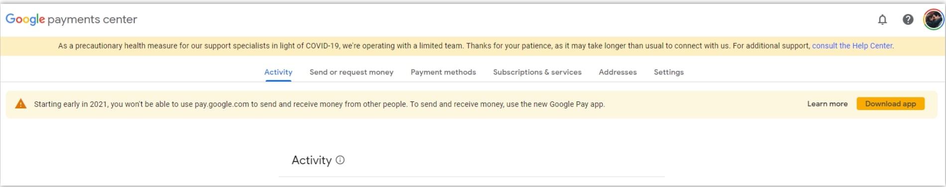 Google pay web app