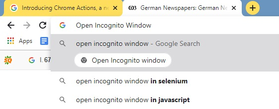 Open Incognito Window Chrome Actions