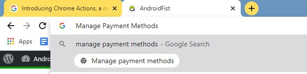 Manage Payments Methods - Chrome Actions