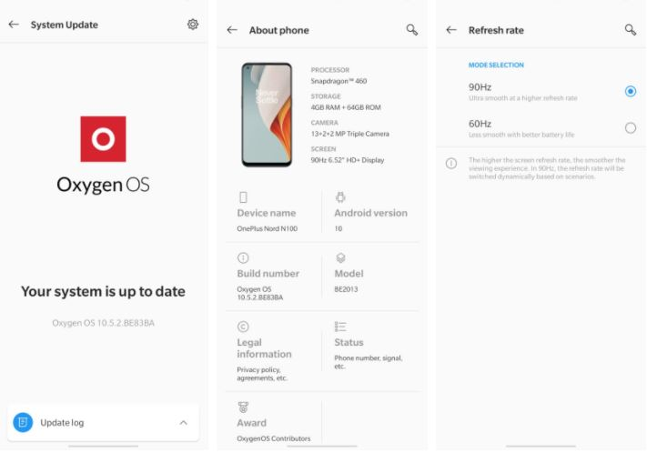 OnePlus Nord N100 Refresh Rate Settings