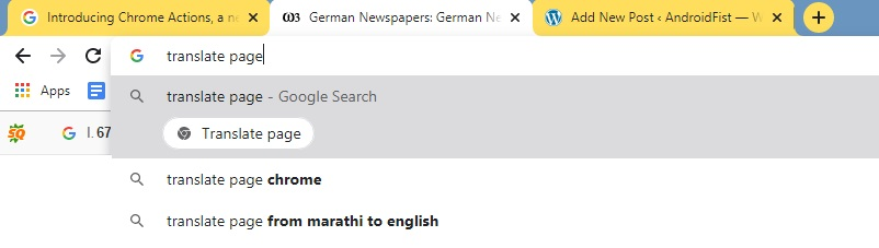 Translate Page Chrome Actions