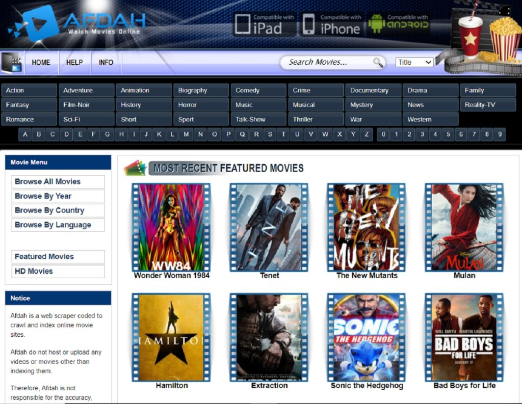 Watch online movies with Afdah