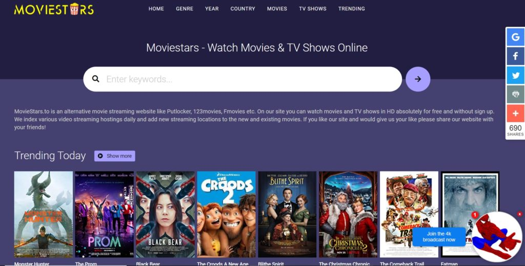 Movie Stars - Free Movie Streaming Sites with No Sign-Up