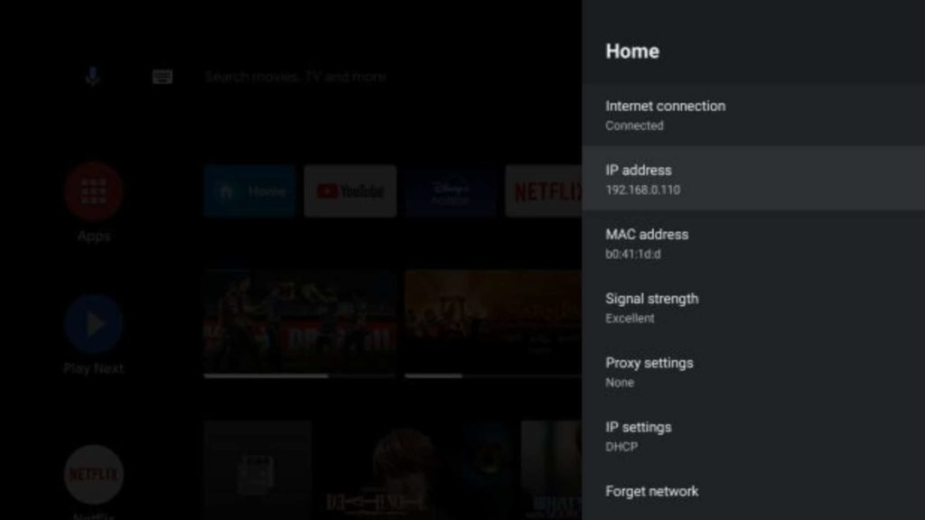 Note IP address of Android TV