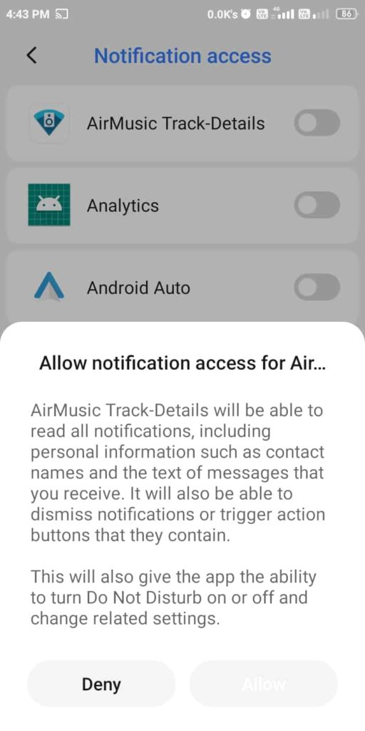 Allow Notification Access to AirMusic