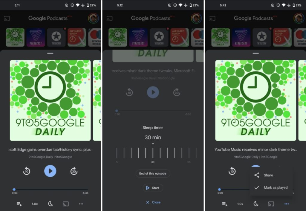 redesigned now playing screen for google podcasts