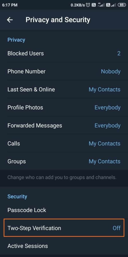 Telegram Privacy and Security Settings - Open Two-Step Verification